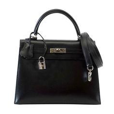 HERMES 25 KELLY bag jet black box leather ruthenium hardware RARE 10500