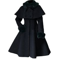 Partiss Women's Sweet Lolita Faux Fur Cape Overcoat ($131) ❤ liked on Polyvore featuring outerwear, coats, cape coat, faux fur cape, black faux fur coat, black cape and over coat