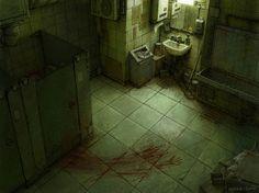 Crime Scene by Nikolai Lockertsen 8bit Art, Creepy Pictures, Environment Concept Art, Dark Photography, The Villain, Horror Art, Dark Art, Aesthetic Wallpapers, Art Reference
