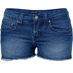 Venus Women's Plus Size Cut Off Jean Shorts ($23) ❤ liked on Polyvore featuring shorts, blue, blue denim shorts, short denim shorts, denim cut-off shorts, cut-off jean shorts and denim shorts