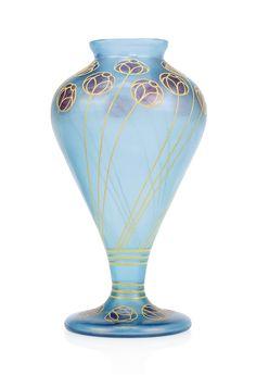 A LUDWIG SUTTERLIN FOR PETERSDORFER GLASHUTTE FRITZ HECKERT ENAMELLED GLASS AZUR CYPRUS VASE -  1900-1902