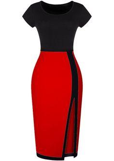 Split Slim Black and Red Dress 11.67