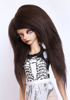 MSD BJD wig Brown long in front fake fur wig No by MonstroDesigns, $12.00