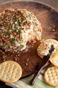 Paula Deen's nutty bacon cheese ball- funny thing....no butter.