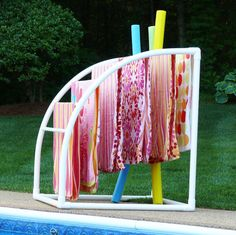 What To Search For Right Before You Purchase Your Higher Than Floor Pool 7 Bar Curved Towelmaid Rack Towel Rack Pool, Pool Towels, Above Ground Pool, In Ground Pools, Pool Toys And Floats, Pool Floats, Pool Organization, Ideas Terraza, Pool Storage
