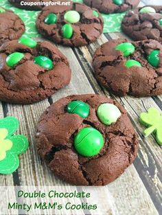 Double Chocolate Minty M&M's Cookies Recipe - perfect for St. Patrick's Day or any day that you need a little extra luck!