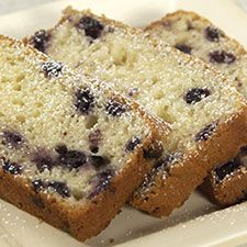 Dante's Blueberry Bread: King Arthur Flour  (to make in a bundt pan, make a 1 1/2X recipe and bake at 350 for 1 hour; mix blueberries in a little flour so they don't sink to bottom of cake)