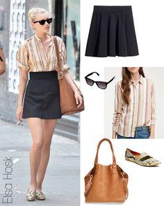 Elsa Hosk's vertical stripe shirt, black skirt and python mocs look for less
