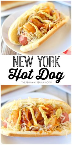 New York Hot Dog Recipe New York Hot Dog Recipe New York Style Hot Dog - featuring onion sauce, sauerkraut and spicy brown mustard this recipe is delicious and packed full of flavor! Hot Dogs, Hot Dog Buns, Grilling Recipes, Dog Food Recipes, Cooking Recipes, New York Hot Dog Recipe, Chicago Dog Recipe, Dog Burger, Burgers