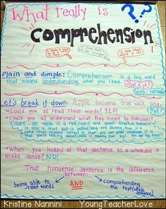 What Really Is Comprehension? Anchor Chart - Help your elementary classroom or homeschool students better understand exactly what comprehension is with this great anchor chart. Perfect for the upper elementary classroom, or adapt it for use with your primary students as well. Great for readers workshop, guided reading lessons, whole group activities, or to hang as a poster on the wall. #UpperElementary #ReadingComprehension #AnchorChart Comprehension Strategies, Reading Strategies, Reading Skills, Reading Comprehension, Reading Resources, Ell Strategies, Literacy Strategies, Comprehension Worksheets, Literacy Centers