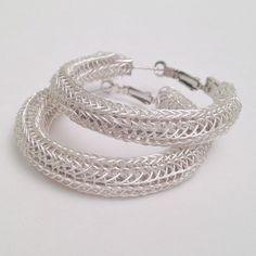 ladies hoop earrings silver viking knit by DonnaDStore on Etsy