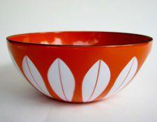 Mint Vintage Cathrineholm Orange and White Lotus Pattern 5.5 Inch Bowl, Metal Enamelware, Norway Mid Century Modern