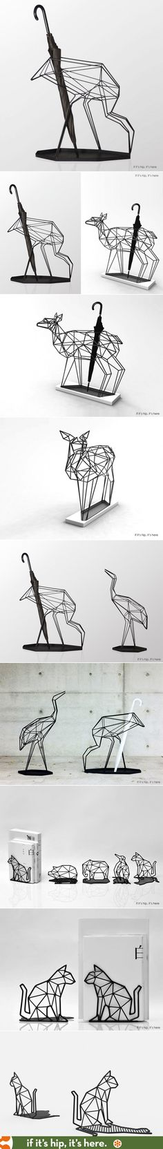 Umbrella stands and bookends shaped like origami animals.