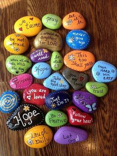 80 Top Painted Rock Art Ideen mit A. - -Atemberaubende 80 Top Painted Rock Art Ideen mit A. - - Love, hope, faith rock painting video tutorial drawing products - Drawing Products Words of Wisdom Painted Stones Set of 10 Affirmation Rocks Pebble Painting, Pebble Art, Stone Painting, Diy Painting, Garden Painting, Kids Crafts, Diy And Crafts, Craft Projects, Arts And Crafts
