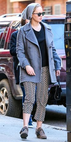 Jennifer Lawrence out and about in NY (March 29, 2015), wearing a Christian Dior coat, a Roger Vivier bag,  Lanvin chevron printed silk trousers and Rag & Bone Ghita Moccasins. #jenniferlawrence #style