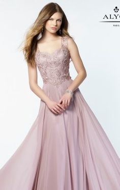 Embroidered lace adorns the sweetheart bodice of this Alyce 27164 chiffon dress. featuring embroidered illusion straps and an illusion back. The full-length A-line skirt flows from the slight basque waistline. Available in sizes 2 ��� 28 Junior Prom Dresses, Prom Dresses 2017, Prom Dresses Online, Bridesmaid Dresses, Bride Dresses, Wedding Dresses, Long Formal Gowns, Long Evening Gowns, Formal Dresses