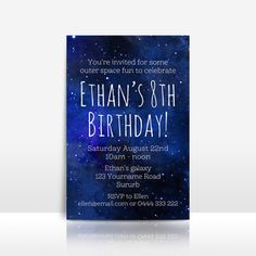 Galaxy / Outer space / Stars birthday invitation