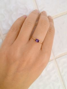 HOLIDAY SALE!!Stacking ring,Amethyst ring,gold ring,thin stackable ring,vintage ring,gemstone ring,purple ring,bridal ring