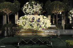 In this handout photo provided by Harrison Funk/The Jackson Family, Michael Jackson's casket rests during the funeral service held at Glendale Forest Lawn Memorial Park on September 3, 2009 in Glendale, California. Jackson, 50, the king of pop, died at UCLA Medical Center after going into cardiac arrest at his rented home on June 25, 2009 in Los Angeles, California.