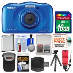 Cheapest Nikon Coolpix S33 Shock & Waterproof Digital Camera (Blue) with 16GB Card  Case  Battery  Flex Tripod  Float Strap  Kit Best Price