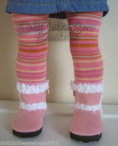 61392a43f102dc Pink Striped Tights made for American Girl Doll Clothes Nice Thick Quality   Generic American Girl