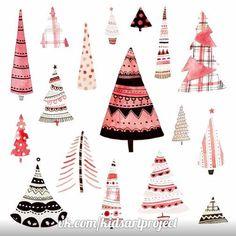 Felicity French - FF xmas trees. Pink Christmas, Christmas Design, Christmas Projects, Winter Christmas, Christmas Themes, Vintage Christmas, Christmas Decorations, Mery Chrismas, Christmas Illustration