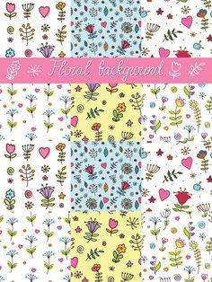 Set of 6 floral seamless patterns. Patterns. $6.00