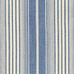 """Canvas Stripe, CS-1007-303 - Hydrangea -- Elizabeth Hamilton Collection -- seen in the """"Her Bunkie"""" bedroom of the 2013 Southern Living Idea House"""