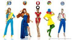 Mujeres vestidas como navegadores de Internet de alta moda