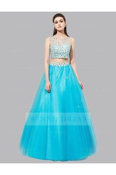 Shop discount Illusion Neckline Sequined Top Blue Tulle Two Piece Prom Dress Strapless Dress Formal, Prom Dresses, Formal Dresses, 2 Piece Prom Dress, Illusion Neckline, Sequin Top, Fashion Show, Fashion Trends, All About Fashion