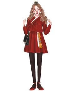 #red#한복#그림#일러스트#イラスト #illustration#drawing#sketch#fashion Korean Traditional, Traditional Dresses, Drawing Themes, Korean Hanbok, Royal Princess, Korean Street Fashion, Anime Outfits, Illustrations, Character Design