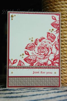 This card has it all. Texture from the EF, bling from the Pearls  the pop of colour with the red CS  ink. I stamped a second generation of the Rose stamp on the inside in the top left  bottom right to tie it all together.