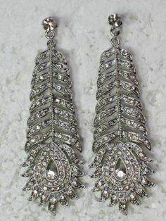 Clear crystal peacock feather dangling earrings for wedding party prom F237