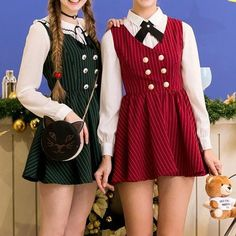 XS-L Red/Green School Girl Sleeveless Dress SP154283 - SpreePicky - 1