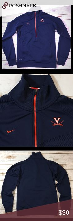 """University of Virginia Nike Fitted Track Jacket Nike Dri-Fit women's University of Virginia/UVA zip-front fitted athletic track jacket.  Labeled a size XS (0-2). Please view measurements to ensure a proper fit.  *Fabric has a bit of stretch -- measurements are taken with the garment laid flat & unstretched* Bust: 33"""" Length: 21.5""""  100% polyester.  Excellent preowned condition, no flaws to note! Nike Jackets & Coats"""