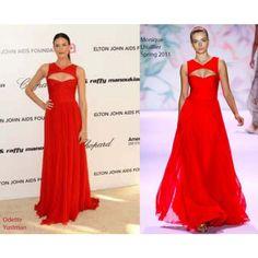 Odette Yustman Hot Red Chiffon Evening Formal Dress 2011 Oscars