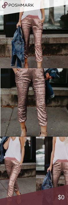 Pink Sequin Ankle Pants Dress it up or down but keep it chic all this season!! The perfect oomph to add flare to your basic tee or simple blouse.  Made of polyester and spandex Pants Ankle & Cropped