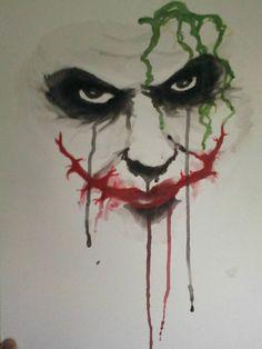 Fan art de The joker de TDK Es un encargo hecho en acuarelas tamaño Disfruten! ^^ Fanart of The joker of TDK A commission made with watercolors in Why so serious? Joker Images, Joker Pics, Joker Art, Gas Mask Art, Masks Art, Joker Drawings, Pencil Art Drawings, Why So Serious Tattoo, Evil Skull Tattoo