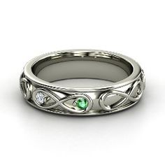 Infinite Love Ring, White Gold Ring with Emerald
