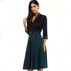 Vintage 3/4 Sleeve V Neck Plaid Knee-Length Dress