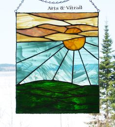 Sunset suncatcher stained glass 9 X 11 23 X 28