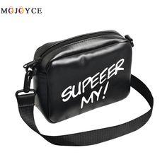 Casual Unisex Shoulder Bag Women Men PU Leather Zipper Letter Printed  Crossbody Pack Messenger Bag Shoulder fd8062568be8a