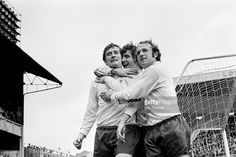 Derby County striker John O'Hare is congratulated by Kevin Hector and Archie Gemmill after...