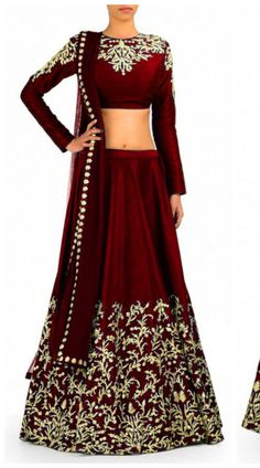 Embroidered Maroon Net And Raw Silk Lehenga Choli With Dupatta ...