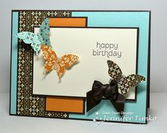 Stamp:  Made For You; Paper:  Spice Cake DSP (retired), Pool Party, Early Espresso, More Mustard, Very Vanilla; Ink:  Early Espresso; Accessories:  Elegant Butterfly Punch, Basic Pearls, Early Espresso Satin Ribbon (retired)