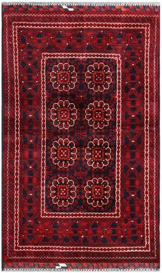 "Khan Mohammadi Rug 3′ x 4'11"" 1 from Afghanistan"