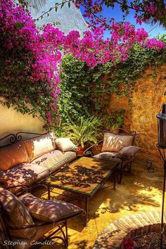 Outdoor Living, outrageously fabulous patio with one wall covered in flowers Outdoor Rooms, Outdoor Gardens, Outdoor Living, Outdoor Decor, Outdoor Parties, Outdoor Seating, Outdoor Sofa, Dream Garden, Home And Garden