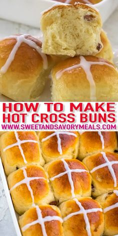 Hot Cross Buns are slightly sweet, with raisins and spiced with cinnamon, and perfectly puffy. They became an Easter tradition to celebrate Good Friday. food recipes homemade videos Hot Cross Buns Recipe [Video] - Sweet and Savory Meals Easter Recipes, Baby Food Recipes, Baking Recipes, Dessert Recipes, Recipes Dinner, Easter Bread Recipe, Baking Desserts, Cross Buns Recipe, Bun Recipe