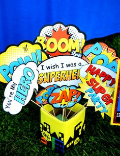 SUPERHERO Birthday Party - PHOTO Props- Super Hero party- Superheroes Birthday- Super Hero Party Printables- Comic- INSTANT Download on Etsy, $3.50