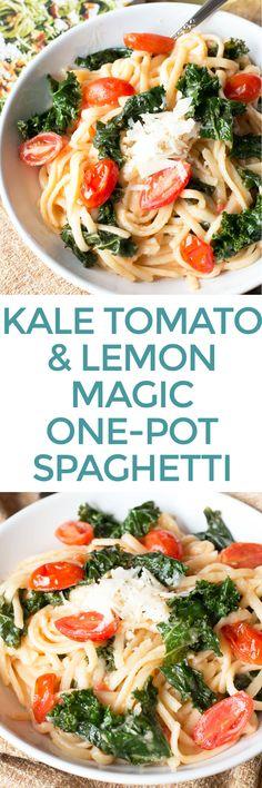 Kale, Tomato, and Lemon Magic One-Pot Spaghetti   cakenknife.com